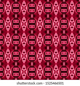 Red seamless embroidery pattern. Ikat ethnic ornament. Seamless striped pattern. Geometric in Aztec style. Figure tribal embroidery.Tribal ethnic texture. Arabian, Scandinavian,Gypsy,Mexican pattern.