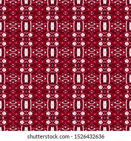 Red seamless portuguese ethnic tiles azulejos. Ikat spanish tile pattern. Italian majolica. Mexican puebla talavera. Moroccan,Turkish floor tiles. Ethnic tile design. Tiled texture for flooring.
