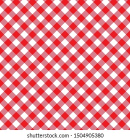 Red seamless table cloth texture. Diagonal lines.