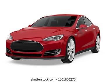 Red Sedan Car Isolated. 3D rendering