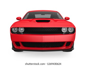 Red Sedan Car Isolated (front view). 3D rendering