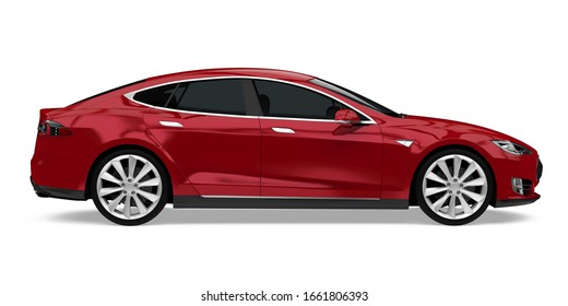 Red Sedan Car Isolated (side view). 3D rendering