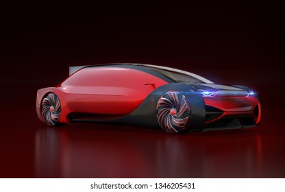 Red self driving electric car on dark red background. 3D rendering image.