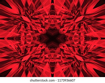 Red shattered kaleidoscope pattern on black