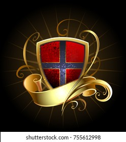 Red shield with golden ribbon on black background.