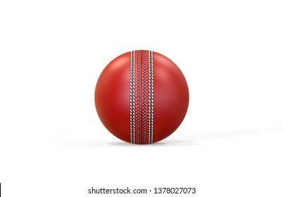 Red shiny cricket ball for international test match on isolated white background, 3d illustration
