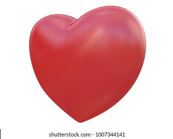 red shiny glossy heart 3d rendering