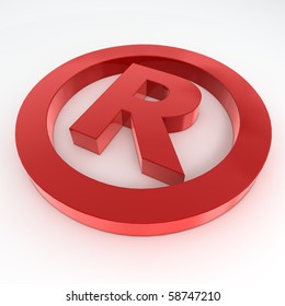 red shiny and glossy registered trademark sign laying on a white ground
