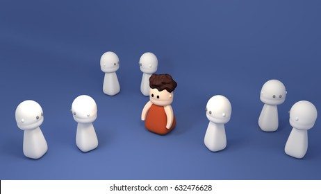 Red shirt man stands out from others. Concept of distinctive personality, social anxiety, social exclusion, bullying, depression, make fun of others, outsider and loner. 3d render picture.