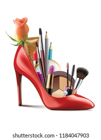 Red shoes with fashion woman cosmetics on wite background. Realistic creative 3d illustration