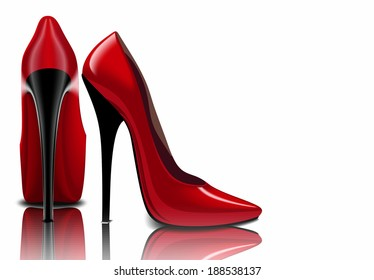Red shoes, women's sharp nose