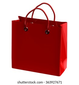 Red shopping bag, isolated on white background.