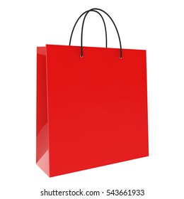 Red shopping bag isolated on white background 3D rendering