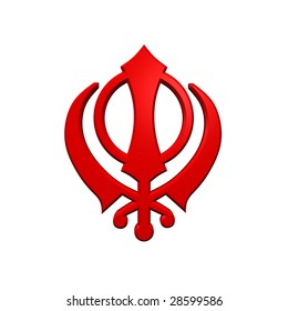 Red sikhism symbol. Computer generated 3D photo rendering.