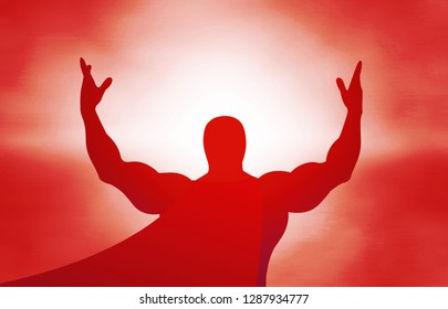 Red silhouette of a superhero on a red background in the sunlight, hands in the air, jubilation, explosion, sunrise