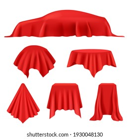 Red silk covered. Revealer cloth realistic exhibition curtains royal cover studio display collection