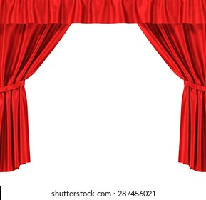 Red silk curtains with garter isolated on white background. 3d illustration High resolution