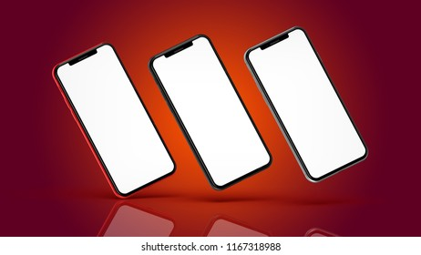 Red, silver and black smartphones with blank screen, isolated on red background. High detailed. 3d illustration.