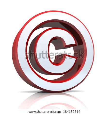 Red Silver Copyright Symbol On White Stock Illustration 184152314