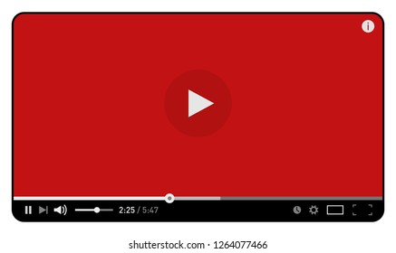 Red simple modern video player design template for web and mobile apps flat style isolated on white