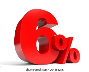 Red six percent off. Discount 6%. 3D illustration.