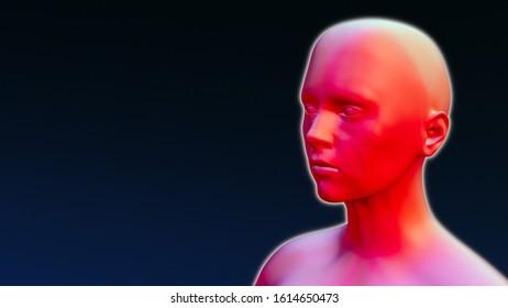 red skin temperature symptom medical pain treatment 3D illustration