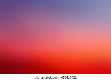 Red sky blurred background. Abstract colorful texture. Rich crimson dawn in sky. Background bright red and dusty blue gradient. Texture watercolor - dawn.
