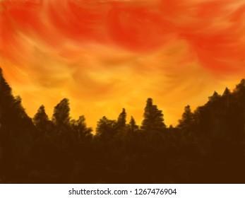 Red sky digital painting