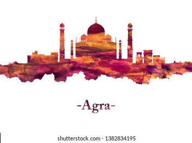 Red skyline of Agra city in northern India's Uttar Pradesh state It's home to the iconic Taj Mahal