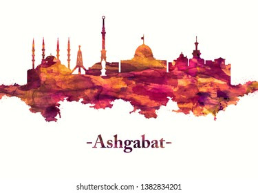 Red skyline of Ashgabat the capital of Turkmenistan It's known for its white marble buildings and grandiose national monuments.