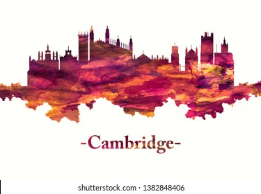 Red skyline of Cambridge city on the River Cam in eastern England