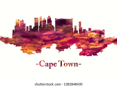 Red skyline of Cape Town a port city on South Africa's southwest coast, on a peninsula beneath the imposing Table Mountain