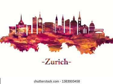 Red skyline of the city of Zurich, a global center for banking and finance
