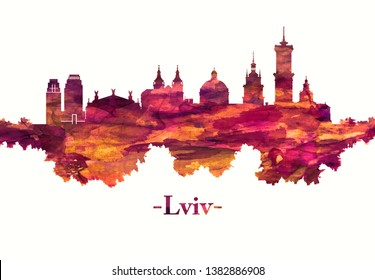 Red skyline of Lviv, a city in western Ukraine, around 70 kilometers from the border with Poland