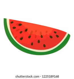 Red slice watermelon icon. Cartoon of red slice watermelon icon for web design isolated on white background