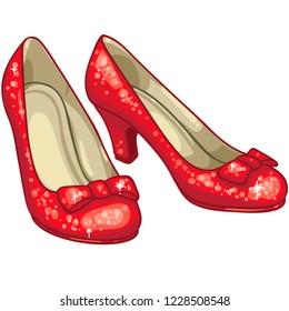 red slippers ruby sparkly glitter illustration