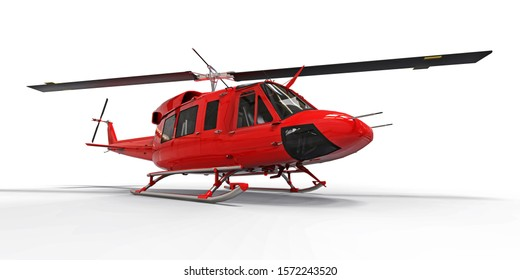 Red small military transport helicopter on white isolated background. The helicopter rescue service. Air taxi. Helicopter for police, fire, ambulance and rescue service. 3d illustration.