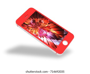 Red Smartphone Mockup with Amazing Screen for Design Project - Mock Up 3D illustration Isolate on White Background