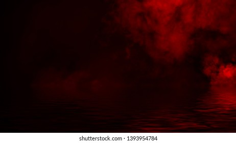 Red smoke with reflection in water. Mistery fog texture overlays background . Design element