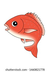 Red snapper character illustration clip art