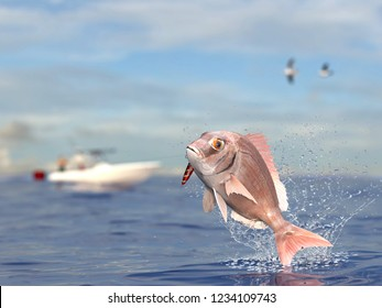 Red snapper porgy fish catched with jig in mouth on sea surface sport fishing boat in background 3d render