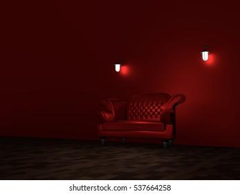 Similar Images, Stock Photos & Vectors of Red sofa in dark ...