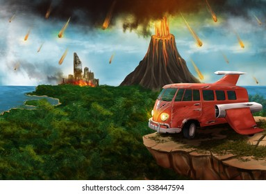 Red Space minivan on an alien planet with a volcanic eruption