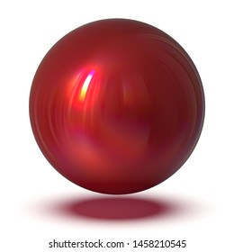 Red sphere round button basic ball circle geometric shape. Droplet atom element glossy sparkling object blank balloon. 3d rendering