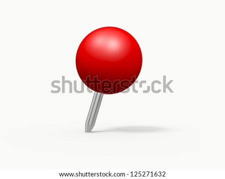red sphere shaped push pin isolated stock illustration 125271632