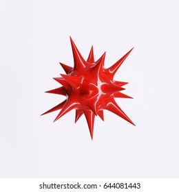 Red spiky plastic ball, isolated on white background. 3D rendering