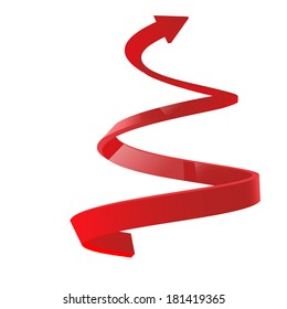 Red spiral arrow 3D.