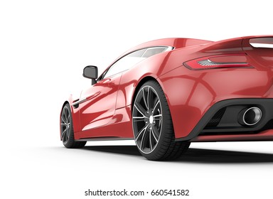 Red sport car isolated on a white background isolated on a white background: 3D rendering