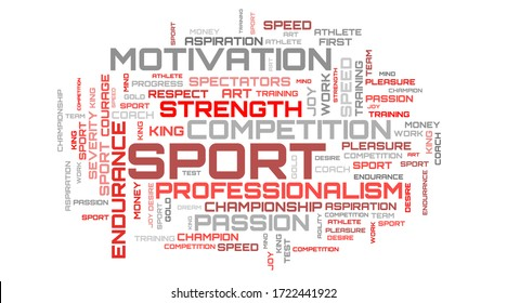 Red sport concept illustration. Abstract word cloud background. Modern tags mosaic wallpaper