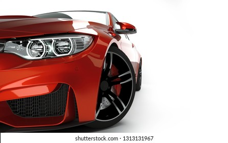 Red Sport coupe car front view with new led headlight isolated on white clean background. 3D render